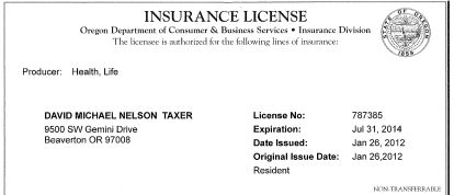 Oregon Health Insurance License
