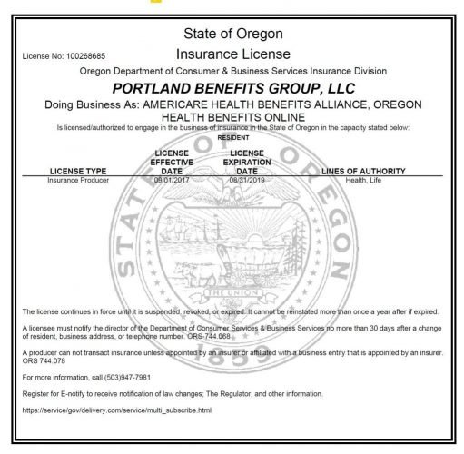 Oregon Arizona Health Insurance License